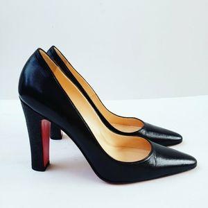 Christian Louboutin Black Leather Pebbled Heel 39